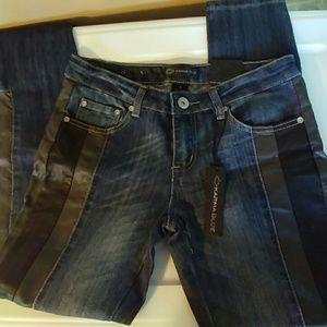 Karma Blue 7 Skinny Jeans w/ Faux Leather